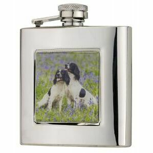 6oz Square Spaniels Flask in Presentation Box by Bisley