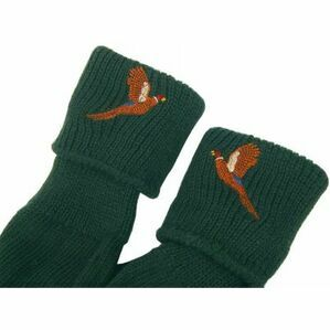 Bisley Embroidered Pheasant Stockings Socks OLIVE