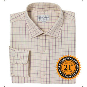 John M Cotton Pink/Burgundy/Grey Check Mens Country Cotton Shirt
