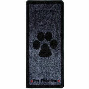 'Stop Muddy Paws' Large Dog Mat From Pet Rebellion - Grey
