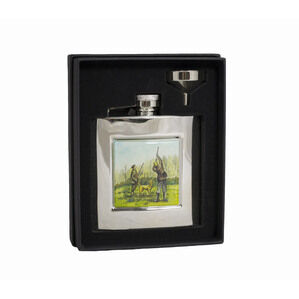 6oz Square Shooting Flask in Presentation Box by Bisley