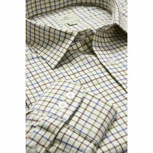 Hoggs Of Fife Pure Cotton Tattersall Wine, Navy & Green Checked Shirt
