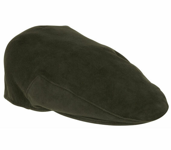 This moleksin cap in a practical dark olive colour from Hoggs Of fife has a  traditional deep back design which gives a comfortable and secure fit. d5f796e5d769
