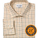 John M Cotton Brown/Country Green Check Mens Country Cotton Shirt additional 1