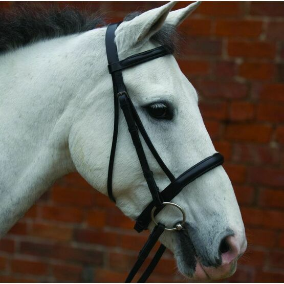 Black Cavession Bridle Raised & Rubber Grip Reins 5/8