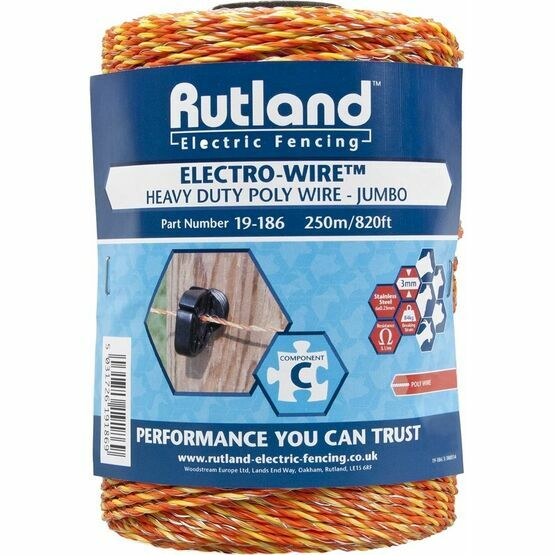 Rutland Electric Fence Jumbo Polywire 250 metre (19-186) only £16.35