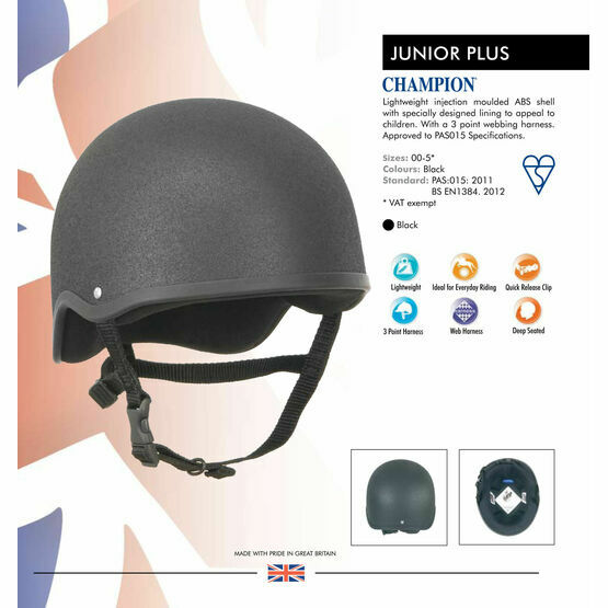 Champion Junior Plus Riding Hat - Black