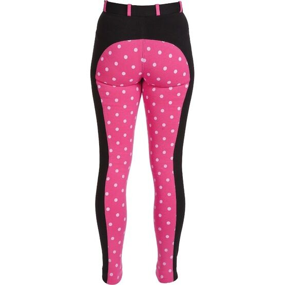 HyPerformance Alyssa Ladies Jodhpurs Black/Hot Pink Polka Dot Print