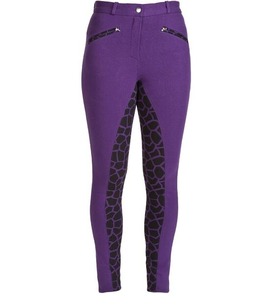 HyPerformance Alyssa Ladies Jodhpurs - Purple/Black Giraffe Print